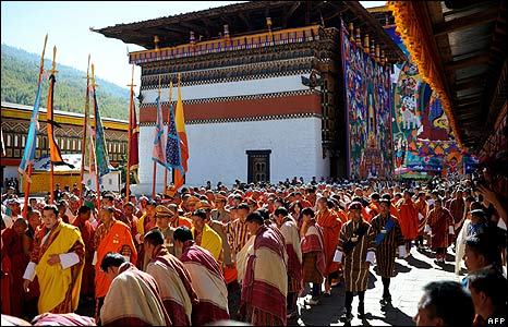 Coronation at the Tashichho Dzong Palace, in Thimphu, Bhutan