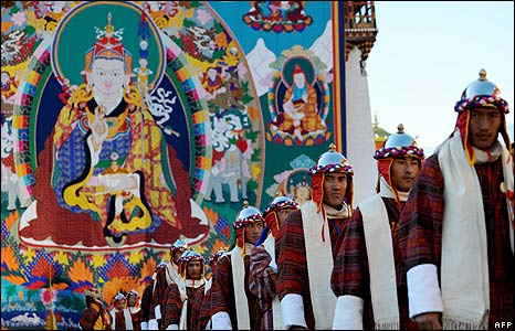 Royal guards at the Bhutan coronation