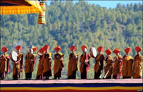 Monks at the Bhutan coronation
