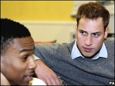 File picture of Prince William chatting to a homeless man