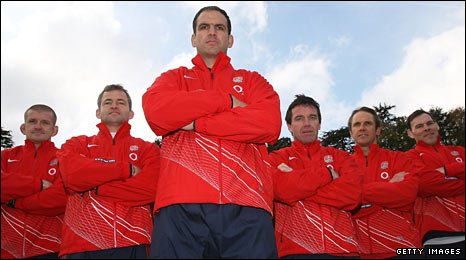 Martin Johnson, flanked by (left to right): Graham Rowntree, Jon Callard, Mike Ford, Brian Smith and John Wells