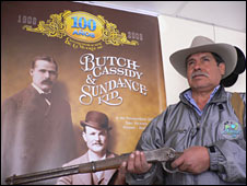 Local expert Felix Chalar, next to a poster showing the two men