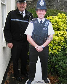 Sgt Andy Murphy with cut out of Pc May
