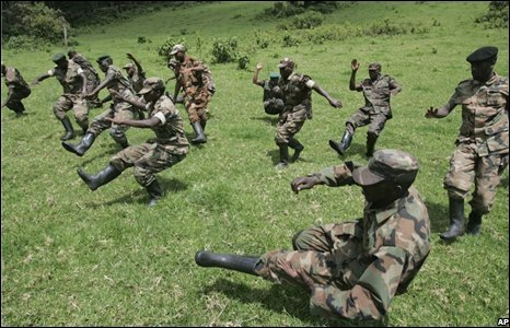 Rebel soldiers train at their base in Tebero, north of Goma on 6 November, 2008.