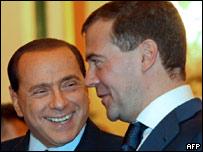 Сильвио Берлускони и Дмитрий Медведев