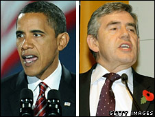 Barack Obama and Gordon Brown composite picture