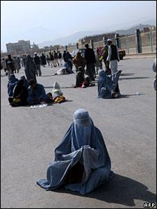 A woman beggar in the Afghan capital, Kabul