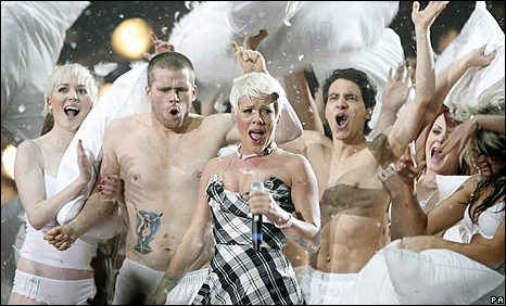 Pink performing at the MTV Europe Music Awards