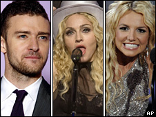 Justin Timberlake, Madonna and Britney Spears