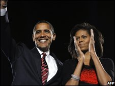Barack and Michelle Obama celebrate victory
