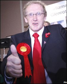 Lindsay Roy celebrates winning the Glenrothes seat for Labour
