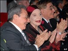 President Raul Castro (L) with Alicia Alonso at the opening of the 21st International Ballet Festival on 28 October 2008