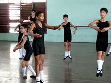Boys train at the Havana Ballet School