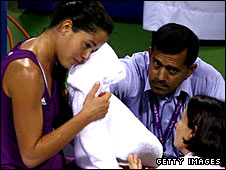 Ivanovic required treatment during her match against Vera Zvonareva