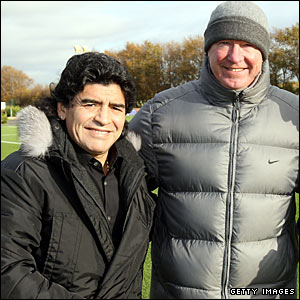 The boss meets the boss - Maradona gets the chance to ask Sir Alex Ferguson if he can borrow Tevez