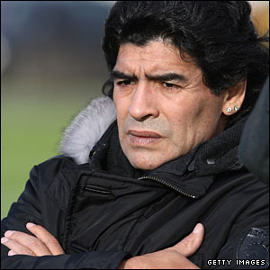Maradona watches the training session as he prepares to take on one of the most high-pressure jobs in international football