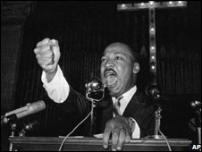 Martin Luther King speaking to an assembled congregation in Eutaw, Alabama in 1965
