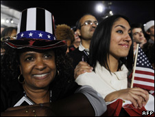 Supporters of Barack Obama attend a victory rally in Chicago on November 4