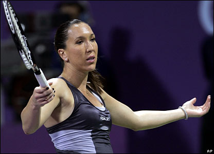 In the remaining competitive match of the day, world number one Jelena Jankovic suffers a surprise defeat by in-form Vera Zvonareva