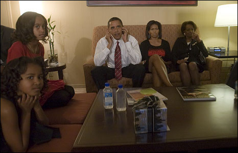 Barack Obama and his family watch the results come in (image by David Katz/Obama for America)