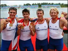 Men's Coxless Fours team with gold medals