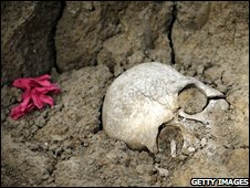 A skull uncovered in a mass grave in Malaga, Spain, September 2008