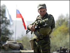 Russian soldier at checkpoint in Georgia, 7 Oct