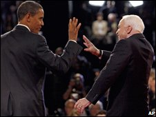 Obama and McCain after a debate
