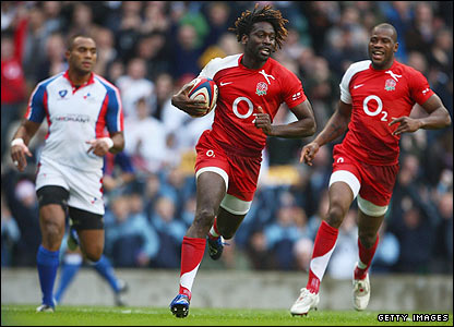 Paul Sackey races in to score England's first try