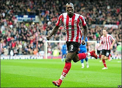 Djibril Cisse celebrates scoring for Sunderland against Portsmouth