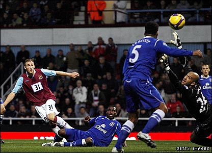 Jack Collison (left) scores for West Ham
