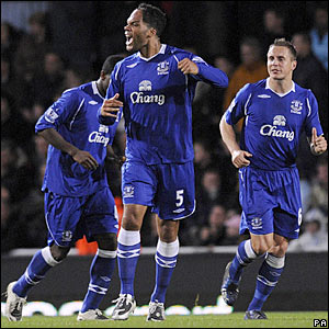 Joleon Lescott celebrates scoring for Everton