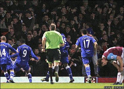 Louis Saha celebrates scoring the winner for Everton