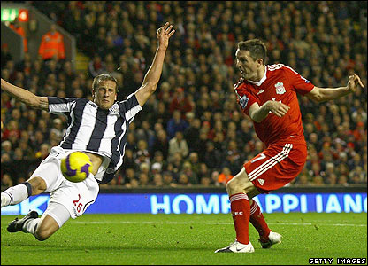 Robbie Keane scores the opener for Liverpool