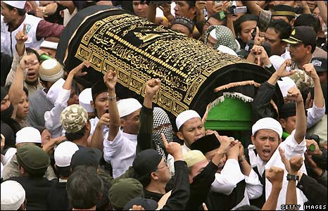 Coffin containing Bali bomber Imam Samudra arrives for funeral in Serang, Banten, Indonesia