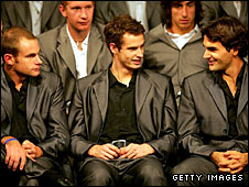 Andy Roddick, Andy Murray and Roger Federer