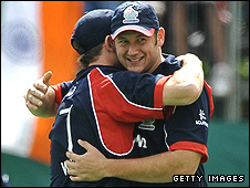 Tim Bresnan, right, celebrates the crucial run-out with Darren Maddy