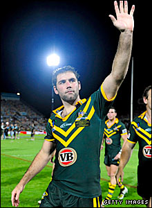 Australia captain Cameron Smith waves to the crowd after the final hooter