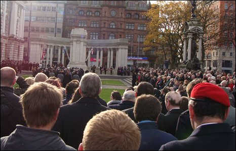 Former service personnel and their families pay tribute at the City Hall