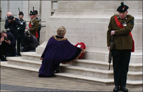 Wreath laying at war memorial