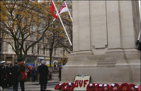 Wreaths left at rear of Cenotaph