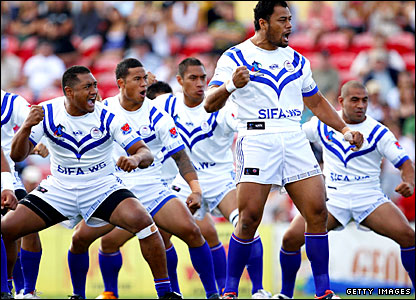 Samoa captain Tony Puleta leads his team in the pre-match haka