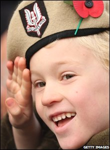 Alfie Amos, six, wears a Second World War SAS uniform at the Remembrance Sunday service at the Cenotaph in London