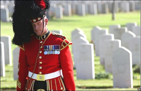 A member of a British honour guard during a Remembrance Day ceremony at the British War Cemetery in Ramle, Israel