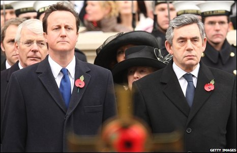 Former British prime minister Sir John Major, leader of the opposition David Cameron, Baroness Thatcher and Prime Minister Gordon Brown attend the Remembrance Sunday Service at the Cenotaph in London