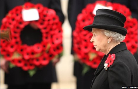 The Queen at the Remembrance Sunday Service at the Cenotaph in London