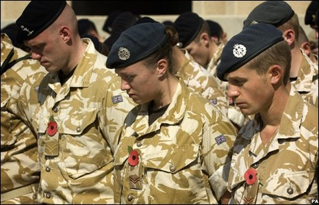 UK personnel take part in a Remembrance Day parade in Basra, Iraq