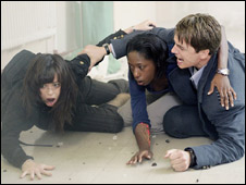 Eve Myles, Nikki Amuka-Bird and John Barrowman in Torchwood