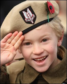 Six-year-old Alfie Amos in a WWII SAS uniform