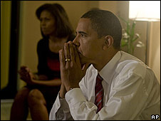 Barack and Michelle Obama watching the election results come in.